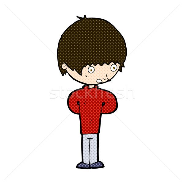 Cômico desenho animado nervoso menino retro Foto stock © lineartestpilot