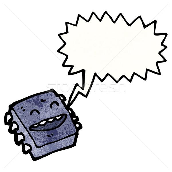 Rajz számítógép mikrocsip boldog beszél retro Stock fotó © lineartestpilot