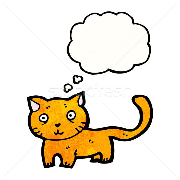 Foto stock: Desenho · animado · gato · falante · retro · pensando · desenho