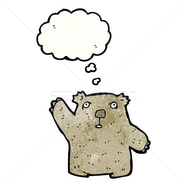 Cartoon wombat retro denken beer tekening Stockfoto © lineartestpilot