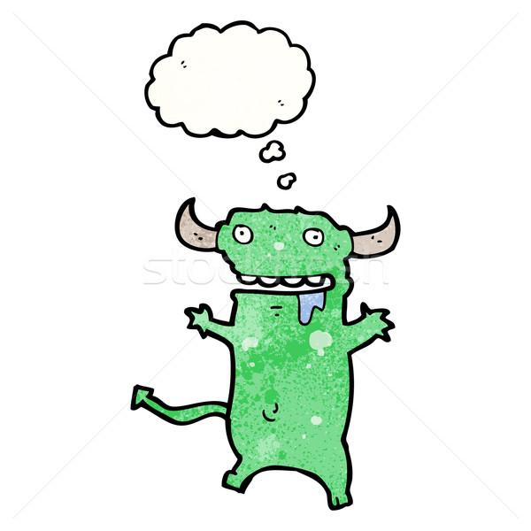Cartoon дьявол мысли пузырь ретро рисунок Идея Сток-фото © lineartestpilot