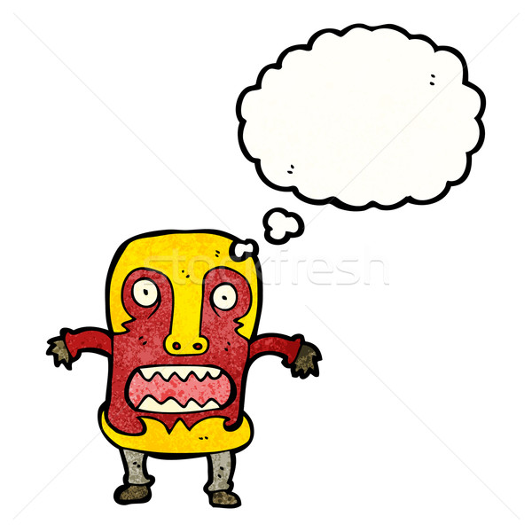 Desenho animado tribal máscara homem retro Foto stock © lineartestpilot