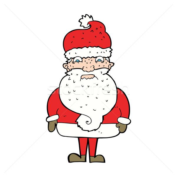 Cartoon knorrig kerstman ontwerp kunst retro Stockfoto © lineartestpilot