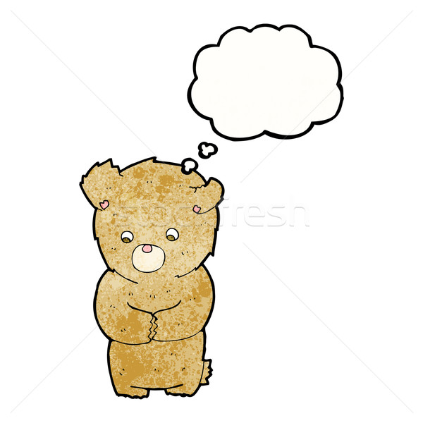 cartoon shy teddy bear with thought bubble Stock photo © lineartestpilot