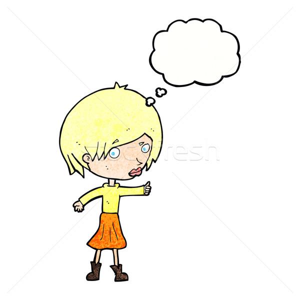 Cartoon kobieta brew bubble myśl strony projektu Zdjęcia stock © lineartestpilot