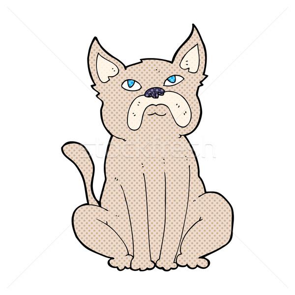 Komische cartoon knorrig weinig hond retro Stockfoto © lineartestpilot
