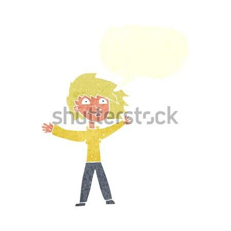 Cartoon eccitato donna bolla di pensiero mano Foto d'archivio © lineartestpilot