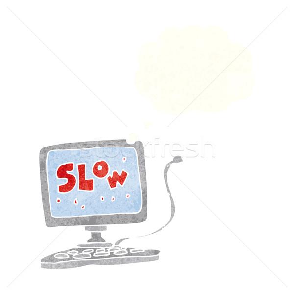 漫画 遅く コンピュータ 思考バブル 手 デザイン ストックフォト © lineartestpilot