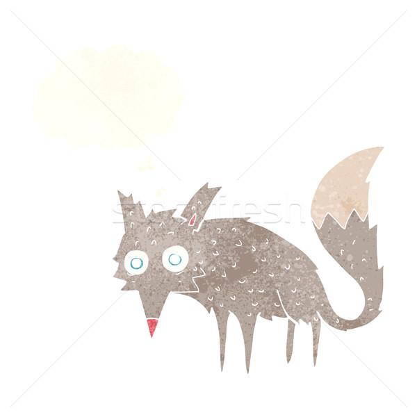 Vicces rajz farkas gondolatbuborék kéz terv Stock fotó © lineartestpilot