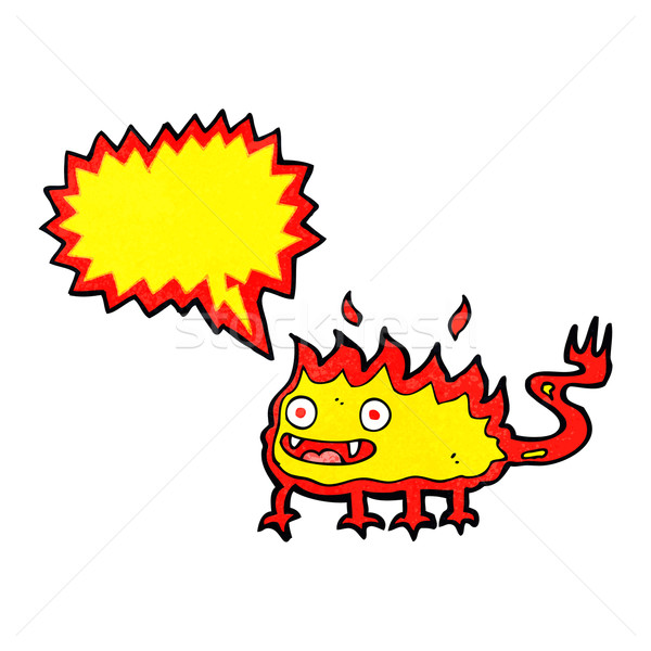 Cartoon pequeño fuego demonio bocadillo mano Foto stock © lineartestpilot