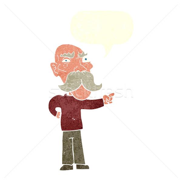 Desenho animado irritado velho indicação balão de fala mão Foto stock © lineartestpilot