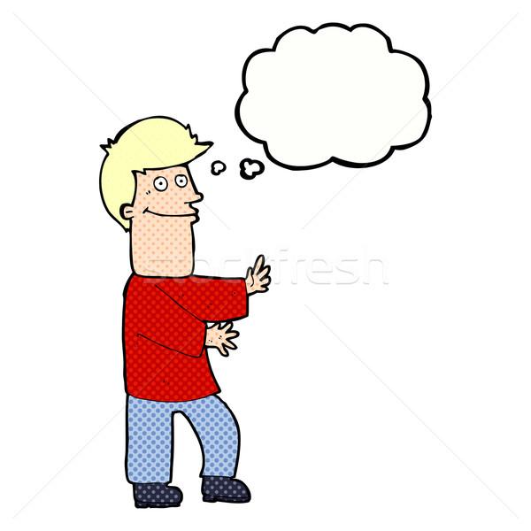 Cartoon hombre burbuja de pensamiento mano diseno Foto stock © lineartestpilot