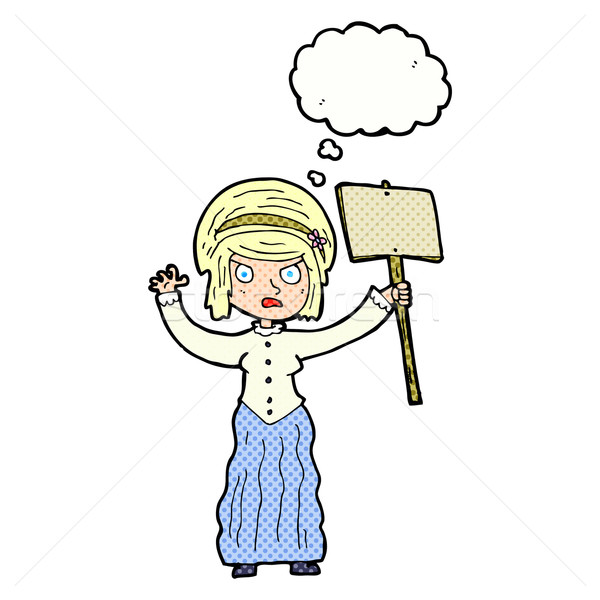 cartoon vicorian woman protesting with thought bubble Stock photo © lineartestpilot