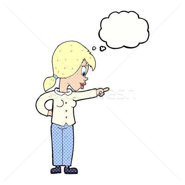 Karikatür hevesli kadın işaret düşünce balonu el Stok fotoğraf © lineartestpilot