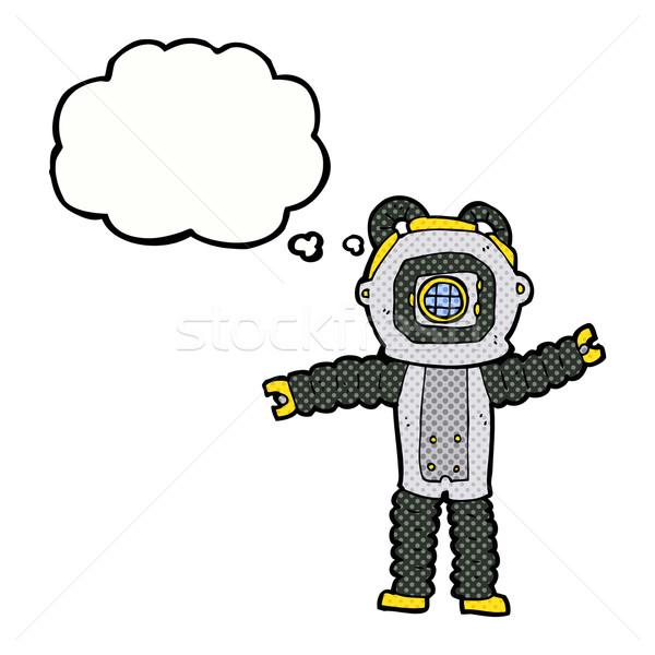 Stockfoto: Cartoon · diep · zee · duiker · gedachte · bel · hand