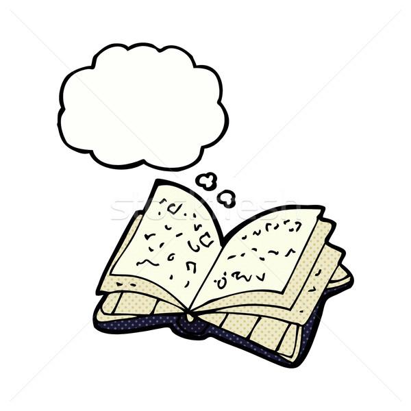 Foto stock: Cartoon · libro · abierto · burbuja · de · pensamiento · mano · diseno · biblioteca