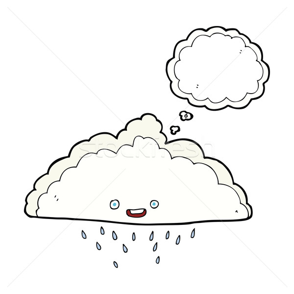 cartoon rain cloud with thought bubble Stock photo © lineartestpilot