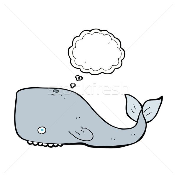Cartoon кит мысли пузырь стороны дизайна искусства Сток-фото © lineartestpilot