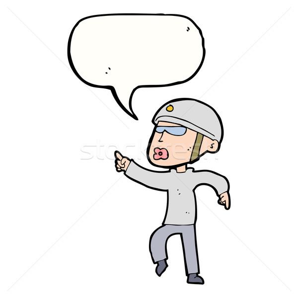 cartoon man in bike helmet pointing with speech bubble Stock photo © lineartestpilot