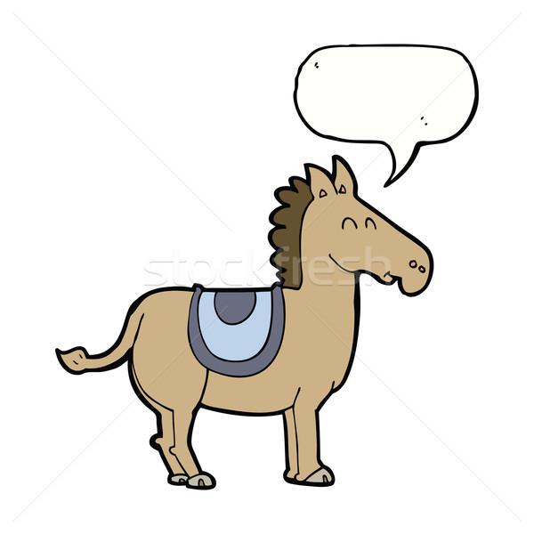Desenho animado burro balão de fala mão projeto animais Foto stock © lineartestpilot
