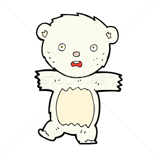 comic cartoon shocked polar bear cub Stock photo © lineartestpilot