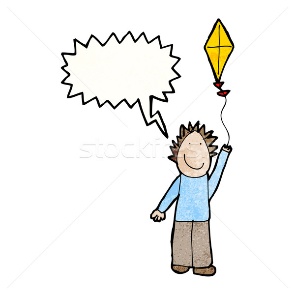 child's drawing of a boy flying a kite Stock photo © lineartestpilot