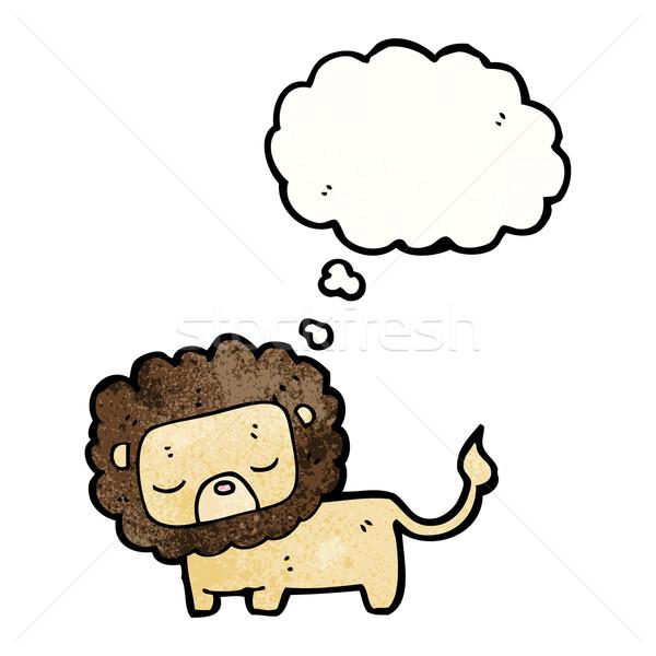 Cute cartoon lew retro myślenia rysunek Zdjęcia stock © lineartestpilot