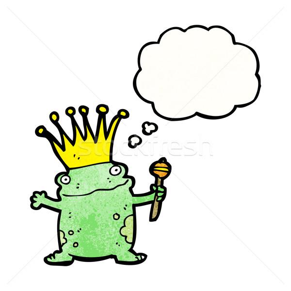 Kurbağa prens karikatür Retro düşünme çizim Stok fotoğraf © lineartestpilot