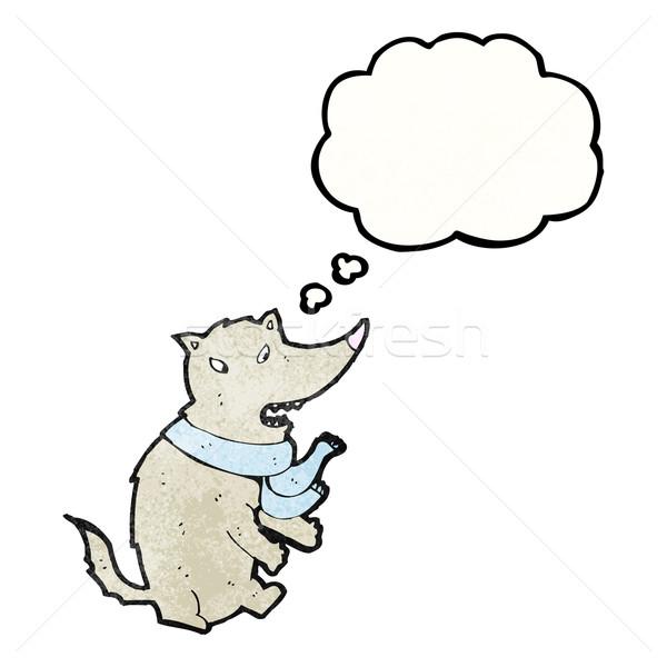 Cartoon волка мысли пузырь искусства ретро рисунок Сток-фото © lineartestpilot
