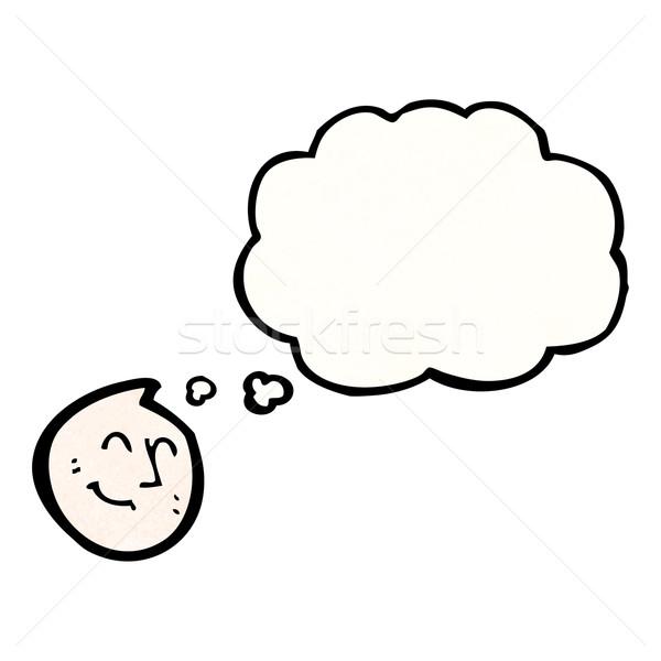 Karikatur glückliches Gesicht Symbol Gedankenblase glücklich Zeichen Stock foto © lineartestpilot