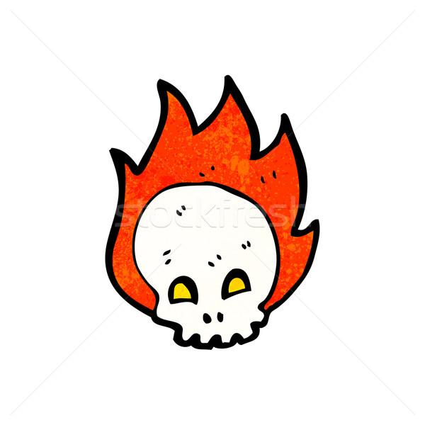 Photo stock: Flaming · crâne · cartoon · symbole · art · rétro