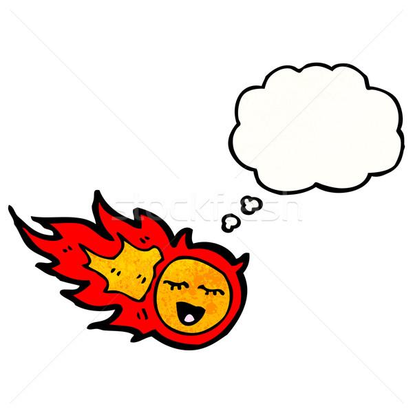 Cartoon bola de fuego burbuja de pensamiento retro textura aislado Foto stock © lineartestpilot