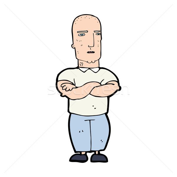 Desenho animado irritado careca homem mão projeto Foto stock © lineartestpilot