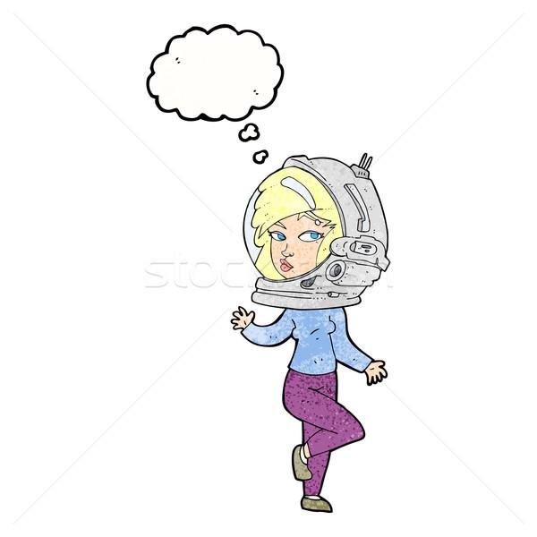 Cartoon vrouw ruimte helm gedachte bel Stockfoto © lineartestpilot