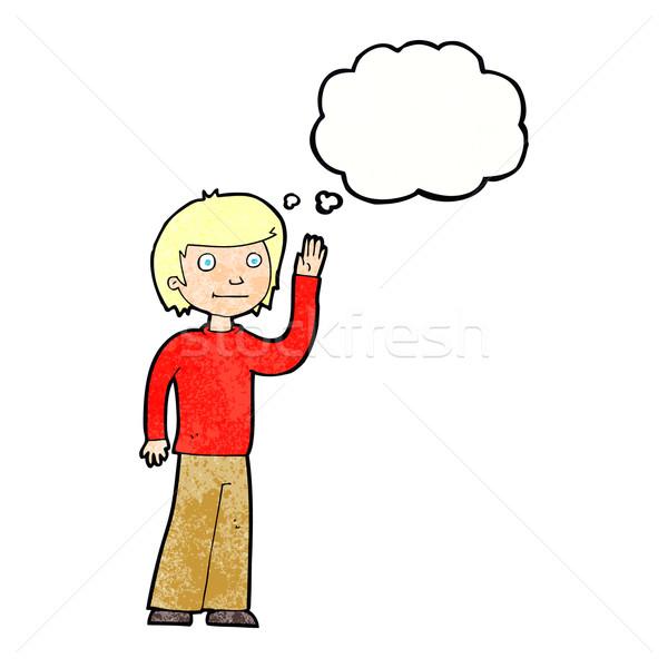 Cartoon amichevole ragazzo bolla di pensiero mano Foto d'archivio © lineartestpilot
