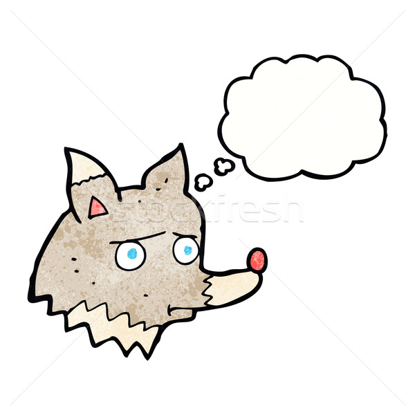 cartoon unhappy wolf with thought bubble Stock photo © lineartestpilot