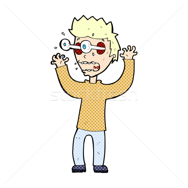 Komiks cartoon przerażony człowiek retro komiks Zdjęcia stock © lineartestpilot