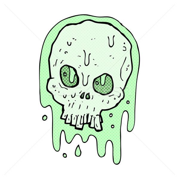 Komik karikatür sümüksü kafatası Retro Stok fotoğraf © lineartestpilot