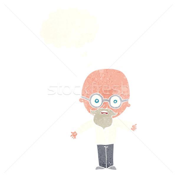 Desenho animado gênio cientista balão de pensamento mão homem Foto stock © lineartestpilot