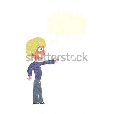 漫画 にやにや 少年 ポインティング 思考バブル 手 ストックフォト © lineartestpilot