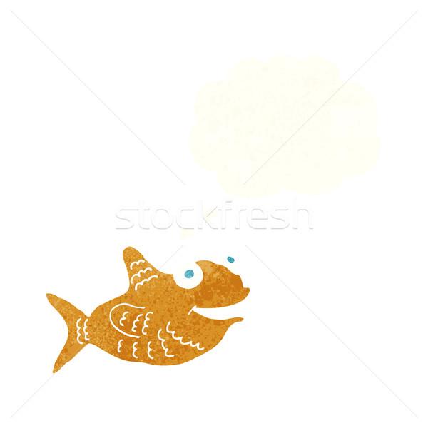 Desenho animado feliz peixe balão de pensamento mão projeto Foto stock © lineartestpilot