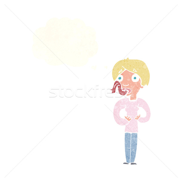 cartoon woman sticking out tongue with thought bubble Stock photo © lineartestpilot
