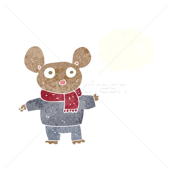 Desenho animado mouse roupa balão de pensamento mão projeto Foto stock © lineartestpilot