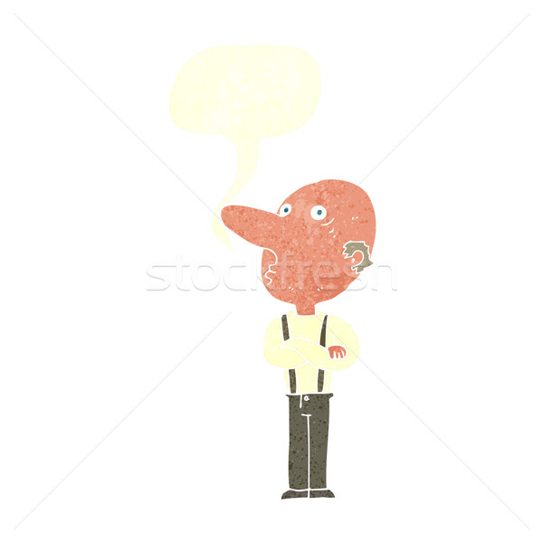 Stock photo: cartoon old man with folded arms with speech bubble