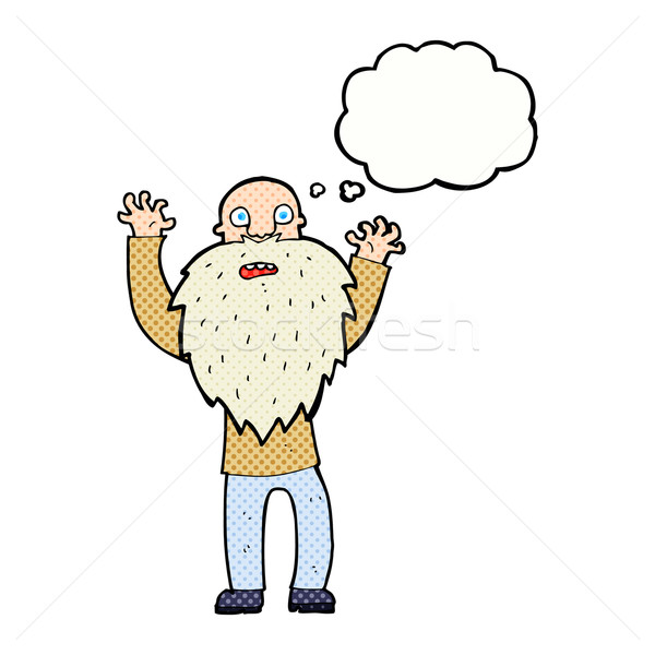 Cartoon bange oude man baard gedachte bel hand Stockfoto © lineartestpilot