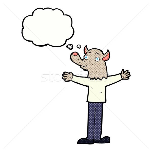 Karikatür dostça kurt adam düşünce balonu el mutlu Stok fotoğraf © lineartestpilot