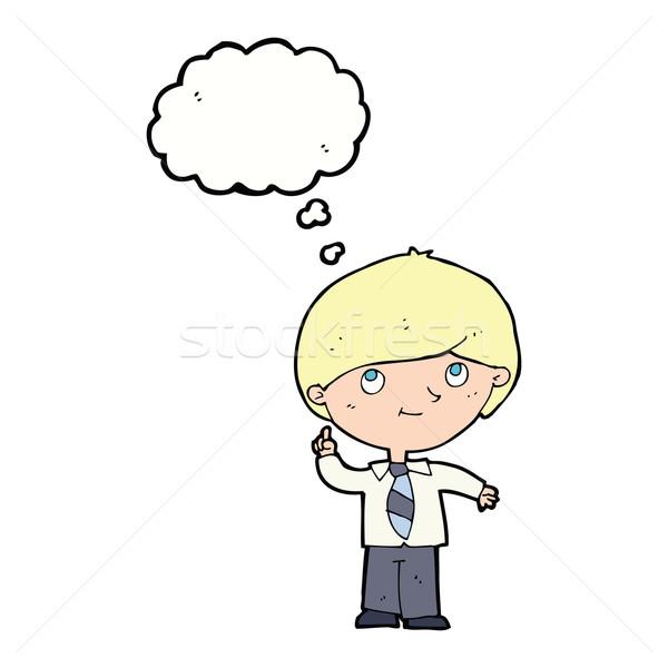 Desenho animado menino idéia balão de pensamento mão homem Foto stock © lineartestpilot