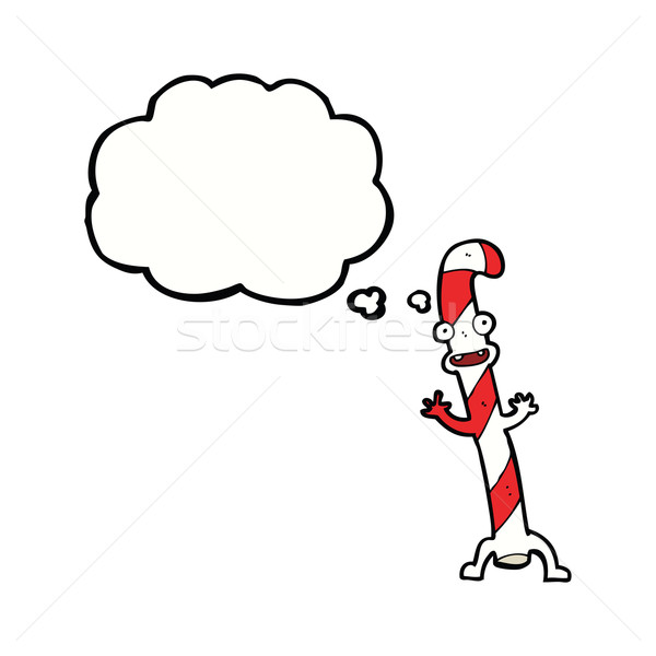 cartoon dancing christmas candy cane with thought bubble Stock photo © lineartestpilot