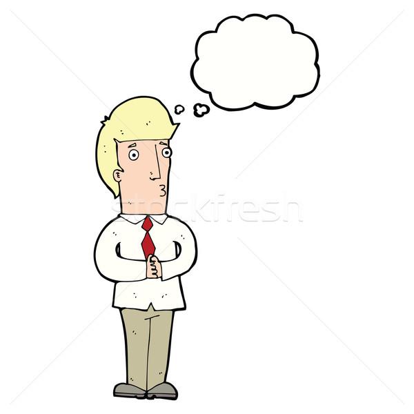 漫画 神経質な 男 思考バブル 手 デザイン ストックフォト © lineartestpilot