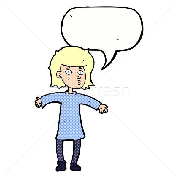 Rajz ideges nő szövegbuborék kéz terv Stock fotó © lineartestpilot